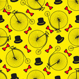 Seamless bicycle pattern.  Penny farting bike. Royalty Free Stock Images