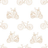 Seamless bicycles and scooters Stock Image