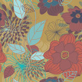 Seamless Big Flowers Pattern Stock Photography