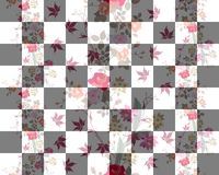 Seamless Bilayer pattern with bouquets of exotic flowers. And checkerboard Stock Photos