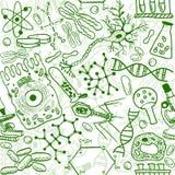 Seamless biologi mönstrar royaltyfri illustrationer