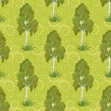 Seamless, birch trees and floral pattern Stock Photo