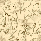 Seamless bird and butterfly pattern royalty free stock images