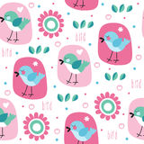 Seamless bird and flower pattern vector illustration Stock Photography