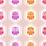 Seamless bird owls pattern Stock Photo
