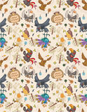Seamless bird pattern Stock Photos