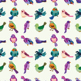 Seamless bird pattern. Cute cartoon vector illusttration Stock Photo