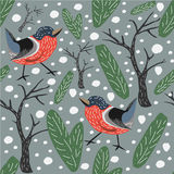 Seamless Bird Pattern. Bullfinches, spruce Royalty Free Stock Photos