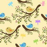 Seamless birds background. Seamless cute birds on a tree background Royalty Free Stock Images