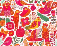 Seamless birds background. Textile composition, hand drawn style pattern. Vector illustration stock image