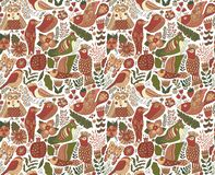 Seamless birds background. Textile composition, hand drawn style pattern. Vector illustration stock images