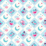Seamless birds bedroom background Royalty Free Stock Images