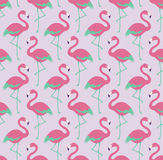 Seamless birds flamingo fabric pattern Royalty Free Stock Photo