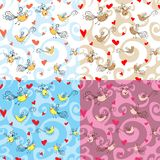 Seamless birds and hearts Royalty Free Stock Image