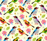 Seamless birds pattern with pink flower on white background. Isolated Royalty Free Stock Photography