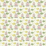 Seamless birds pattern. Vintage birds and birdcages collection. Seamless pattern. Wallpaper vector illustration