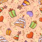 Seamless birthday background with gift, balloon, cake, festive cap and confetti Stock Photography
