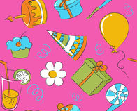 Seamless birthday doodle Royalty Free Stock Photo