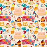 Seamless birthday pattern. Drawing Stock Image