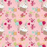 Seamless Birthday pattern. With Pink background Stock Photo