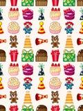 Seamless birthday pattern. Cartoon vector illustration Royalty Free Stock Photography
