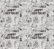 Seamless birthday pattern. Cartoon vector illustration Stock Photos