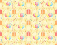 Seamless birthday pattern. With balloons and presents Stock Images