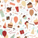 Seamless birthday pattern. Ornate pattern with birthday elements. Can be used for wrapping paper Royalty Free Stock Photo