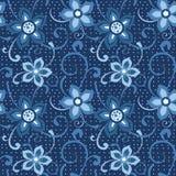seamless blå blom- modell Arkivbild