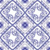 seamless blå blom- modell Bakgrund i stilen av kines Royaltyfria Bilder