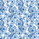 seamless blå blom- modell Bakgrunds- eller ryssgzhelstil Fotografering för Bildbyråer