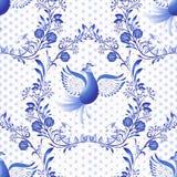 seamless blå modell Blom- bakgrund med fåglar och prickar i stilen av nationell porslinmålning royaltyfri illustrationer