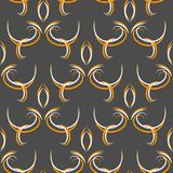 Seamless black abstract oriental pattern with floral elements arabesques vector illustration