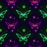 Dark shiny background with butterflies and stars. Seamless black background with colorful butterflies. Regular pattern. Green and red transparent butterflies Stock Images