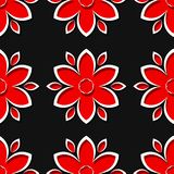 Seamless black background with 3d floral red elements. Vector illustration Royalty Free Stock Photos