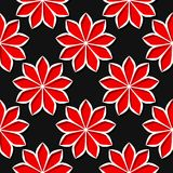 Seamless black background with 3d floral red elements. Vector illustration Royalty Free Stock Photo