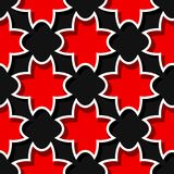 Seamless black background with 3d floral red elements. Vector illustration Stock Photography