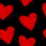 Seamless black background with hearts made of dots Stock Images