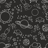 Seamless black background with stars and spaceships. Vector pattern with stars and space for design Stock Image