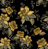 Seamless black background with yellow flowers Stock Photos