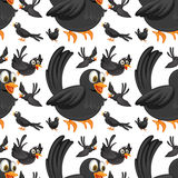 Seamless black birds flying. Illustration Royalty Free Stock Photo