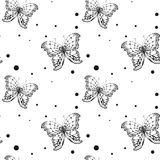Seamless black butterfly on white background Stock Photo
