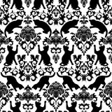 Seamless with black cats. Damask stock illustration