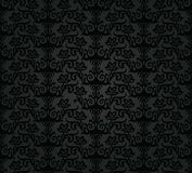 Seamless black charcoal floral wallpaper pattern Stock Images