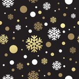 Seamless black christmas wallpaper with white and. Golden snowflakes. Vector illustration royalty free illustration