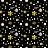 Seamless black christmas wallpaper with white and Royalty Free Stock Image