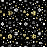 Seamless black christmas wallpaper with white. And golden snowflakes. Vector illustration EPS 10 stock illustration