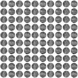 Seamless black circle hand drawn a pattern on white background. vector illustration