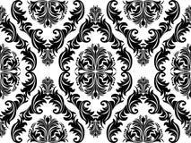 Seamless black damask Ornament on white for design Stock Photo