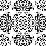 Seamless black damask Ornament on white. Royalty Free Stock Images